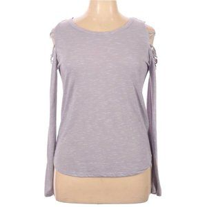 Mudd Cold Shoulder Top Gray With White Fleck Long